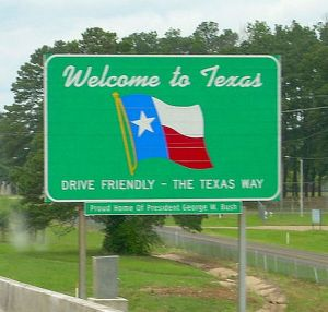 Texas road sign crop