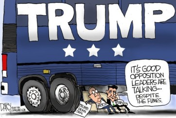 Trump cartoon under bus