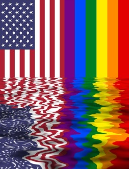 rainbow & US flag